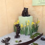 Our Charnwood Delight irises with Suzie Marsh's beautiful sculptures